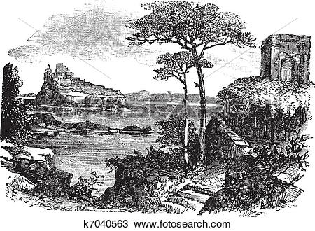 Clipart of Ischia in Italy vintage engraving k7040563.