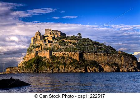 Stock Photography of Aragonese castle at sunset: Ischia island.