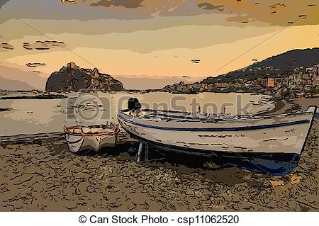 Clip Art of Aragonese castle (Ischia island Italy) view from beach.