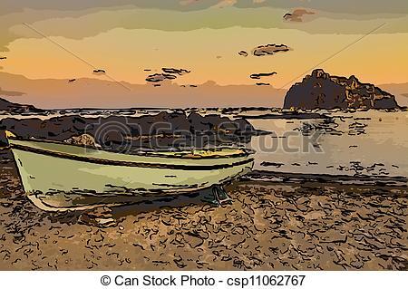 Stock Illustration of Aragonese castle (Ischia island Italy) view.