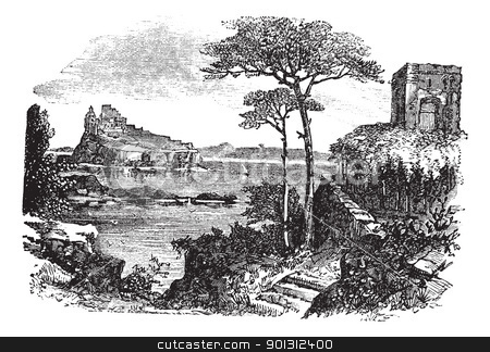 Ischia in Italy vintage engraving stock vector.
