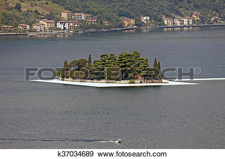 Stock Photograph of Christo, The Floating Piers, Lake I k37034689.