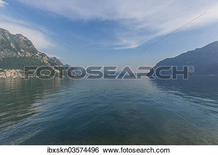 "Stock Images of ""Lake Iseo or Lago d'Iseo with Monte Isola, Riva."