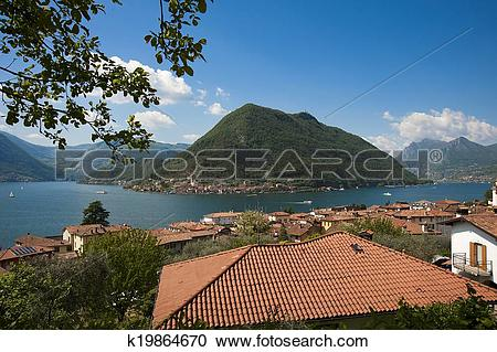 Stock Photography of the beautiful lake of Iseo, North Italy, near.