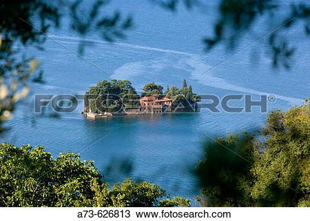Stock Photo of The Isola (island) di San Paolo. Iseo lake.