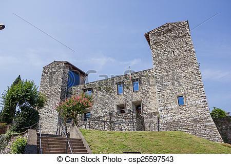 Stock Photo of Iseo lake Oldofredi castle.