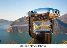 Stock Photographs of a binocular observation at Iseo lake in Italy.