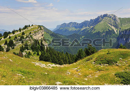 """Stock Image of """"View from the mountain pass Col des Ayes on the."""