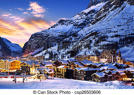 Stock Photography of Val d'Isère city.
