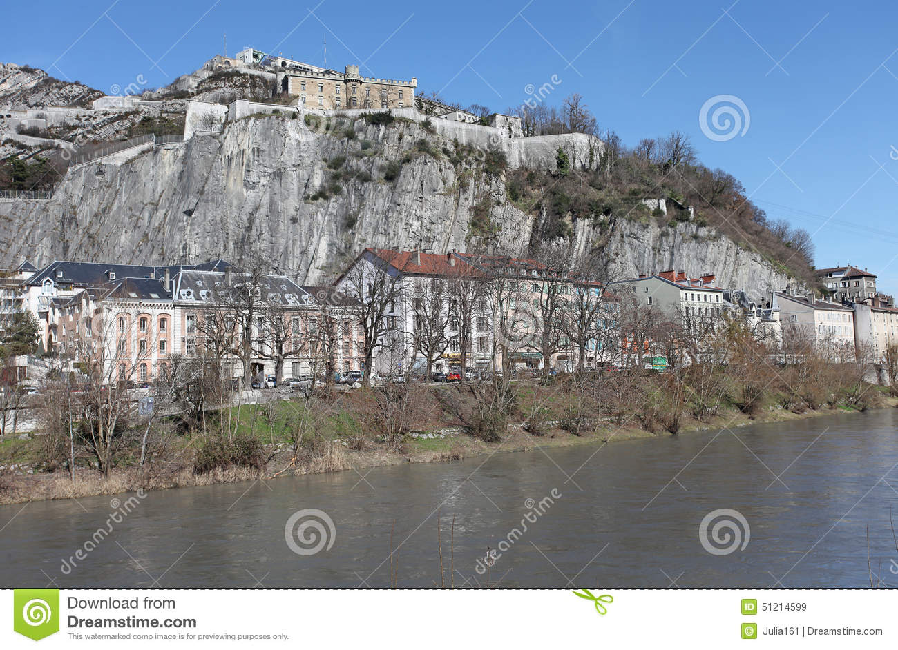 Isere River View In Grenoble France Stock Image.