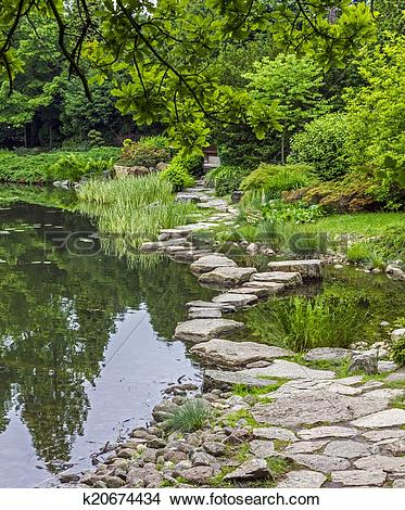 Stock Photo of stone path across water.