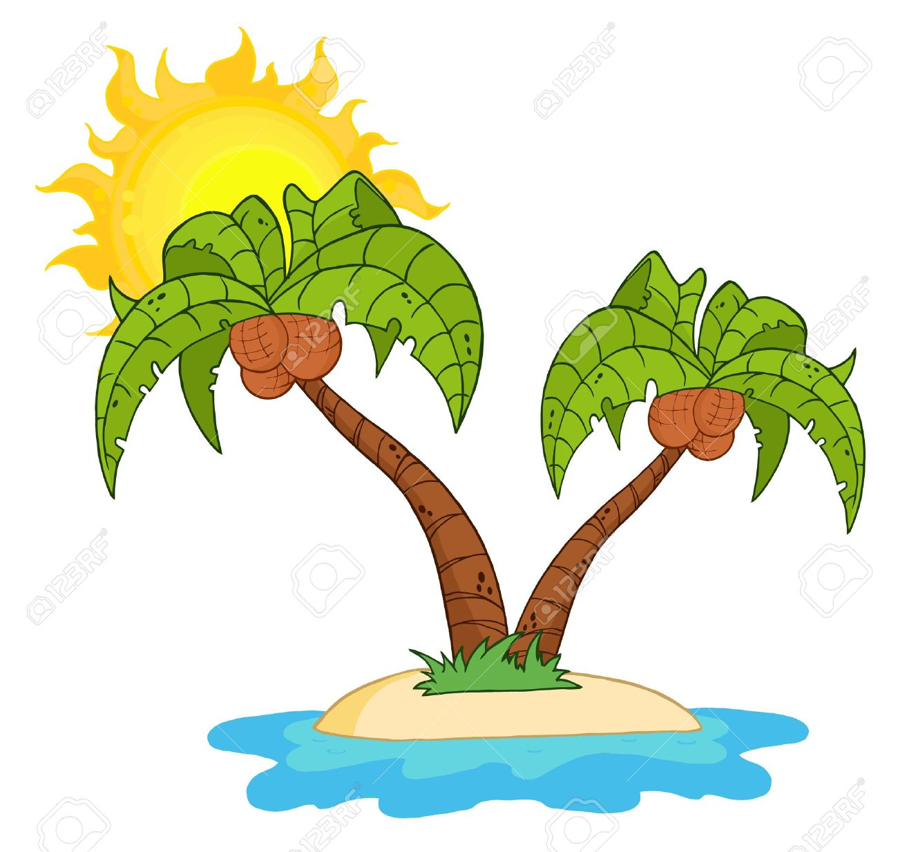 Cartoon Island With Two Palm Tree.