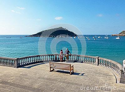 Santa Clara Island In San Sebastian, Spain Stock Photo.
