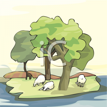 Clipart of a Sheep on an Island.