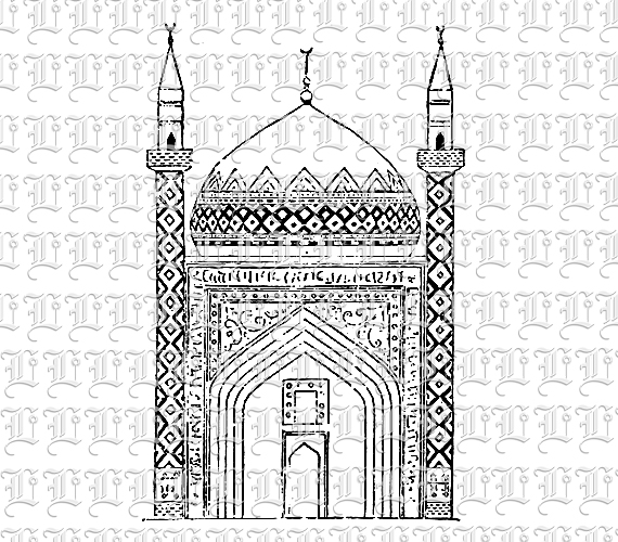 Mosque Islamic Art and Architecture Line Drawing Illustration.