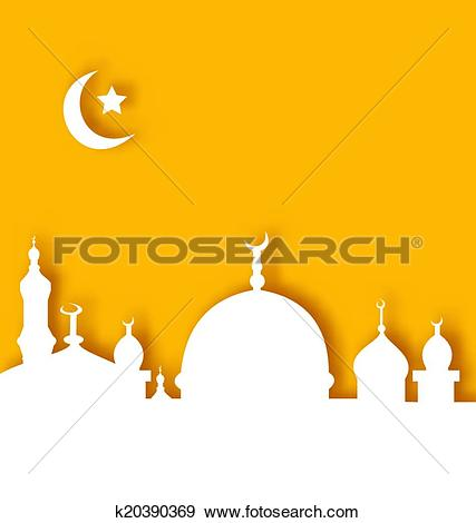 Clip Art of Islamic architecture background, Ramadan Kareem.