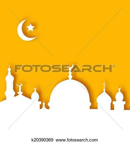 Clip Art of Islamic architecture background, Ramadan Kareem.