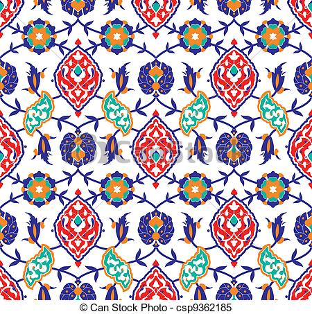 Clipart Vector of Floral Islamic pattern.