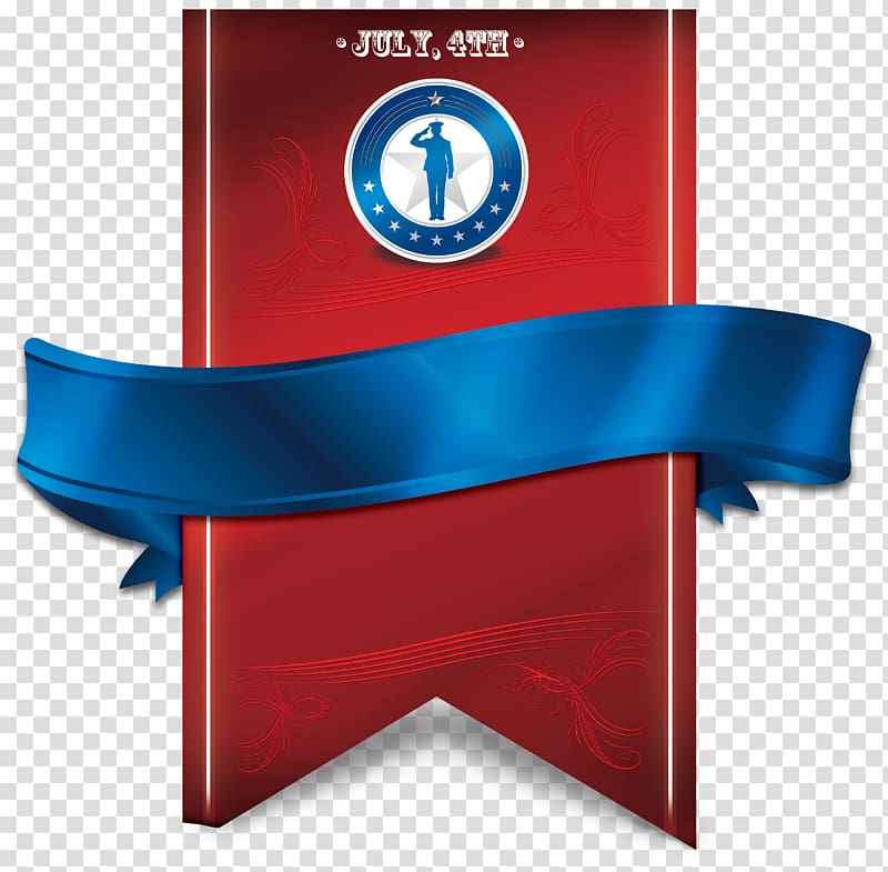 Red and blue ribbon July 4th banner art, Quran Islam Allah.