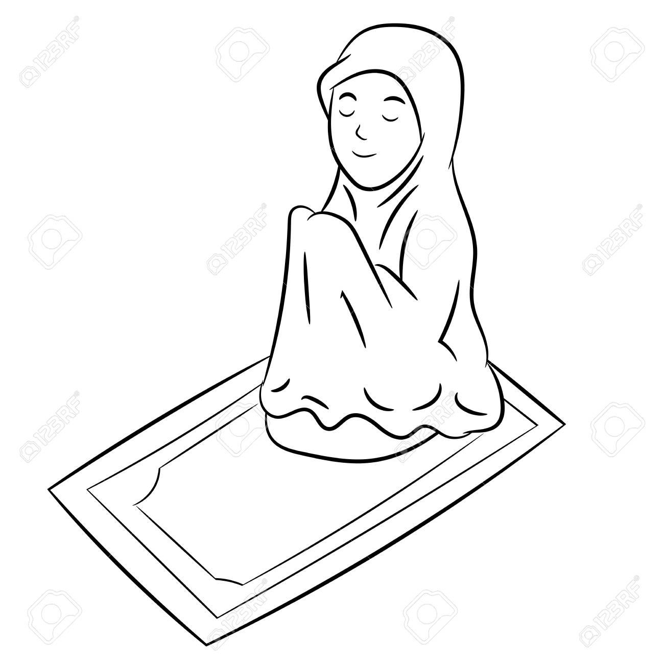 Muslim Girl praying Isolated on white background. Black and White...