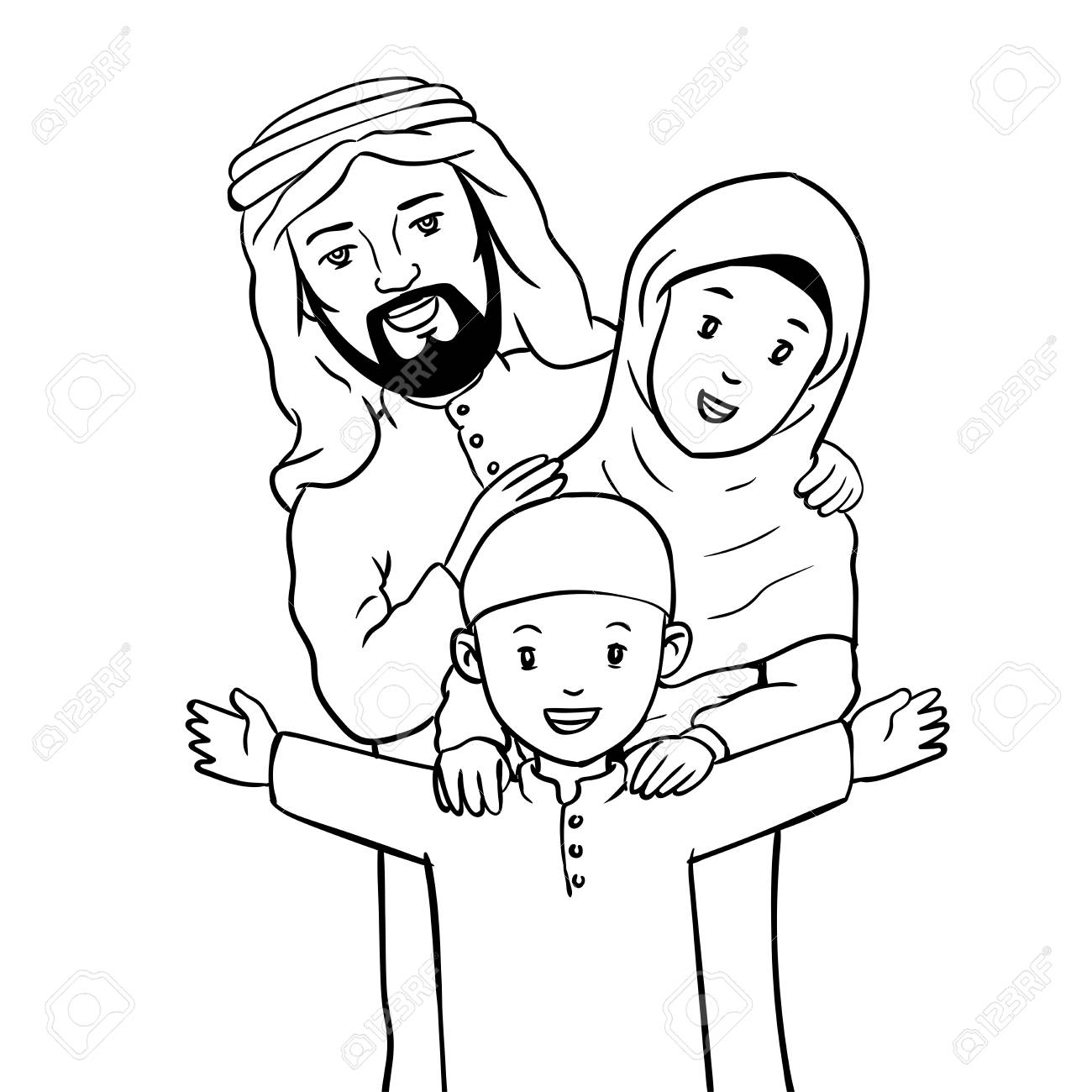 Hand drawn Happy Muslim Family Isolated on white background.