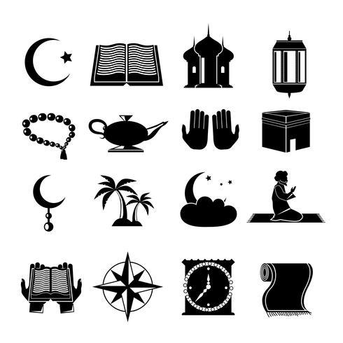 Islam icons set black.