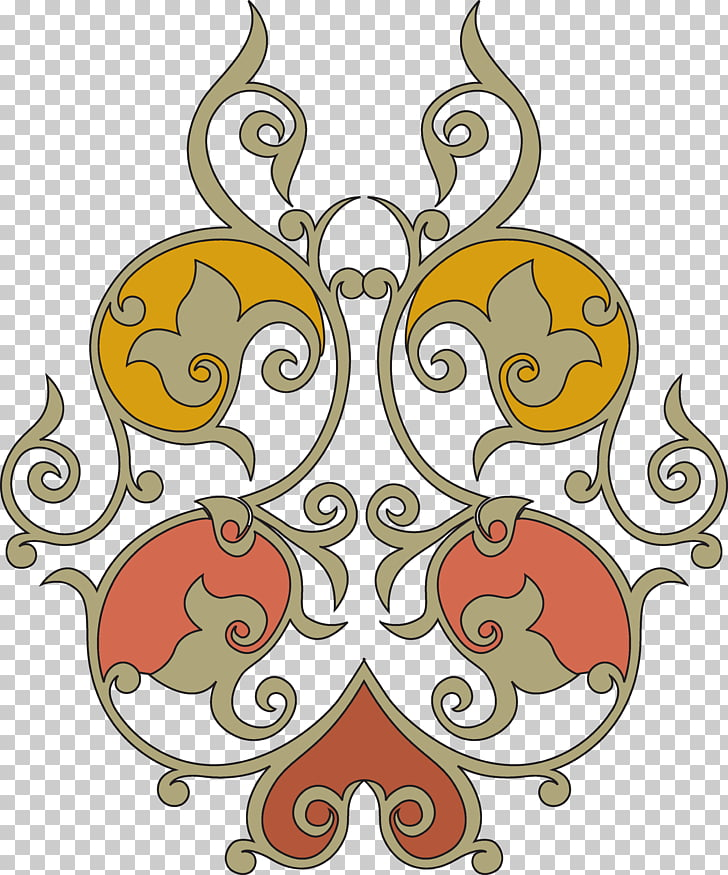 Arabesque , islamic designs, brown, red, and yellow floral.