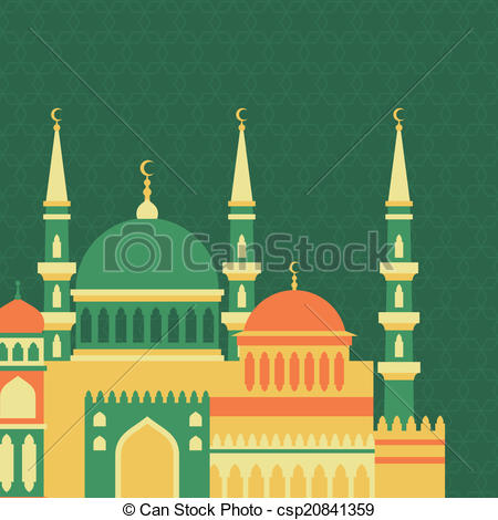 Clipart Vector of Islamic greeting card with mosque in flat design.