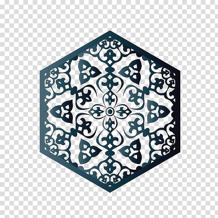 Hexagonal grey scroll graphic art, Islamic geometric.