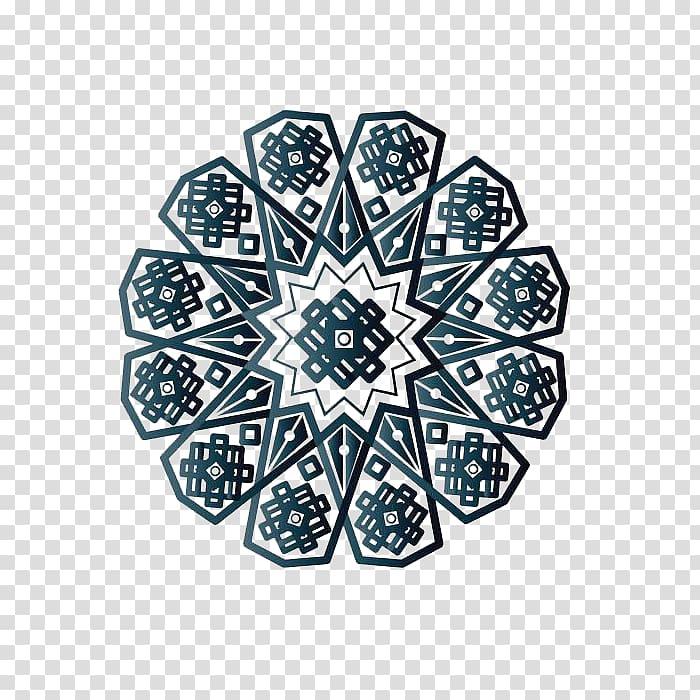 Black and gray flower illustration, Islamic geometric.