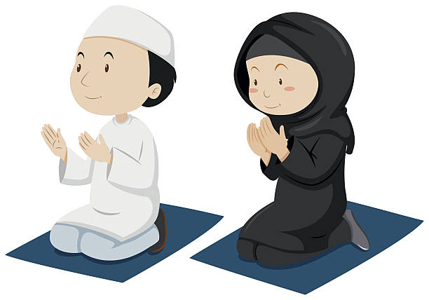 Best Muslim Praying Illustrations, Royalty.