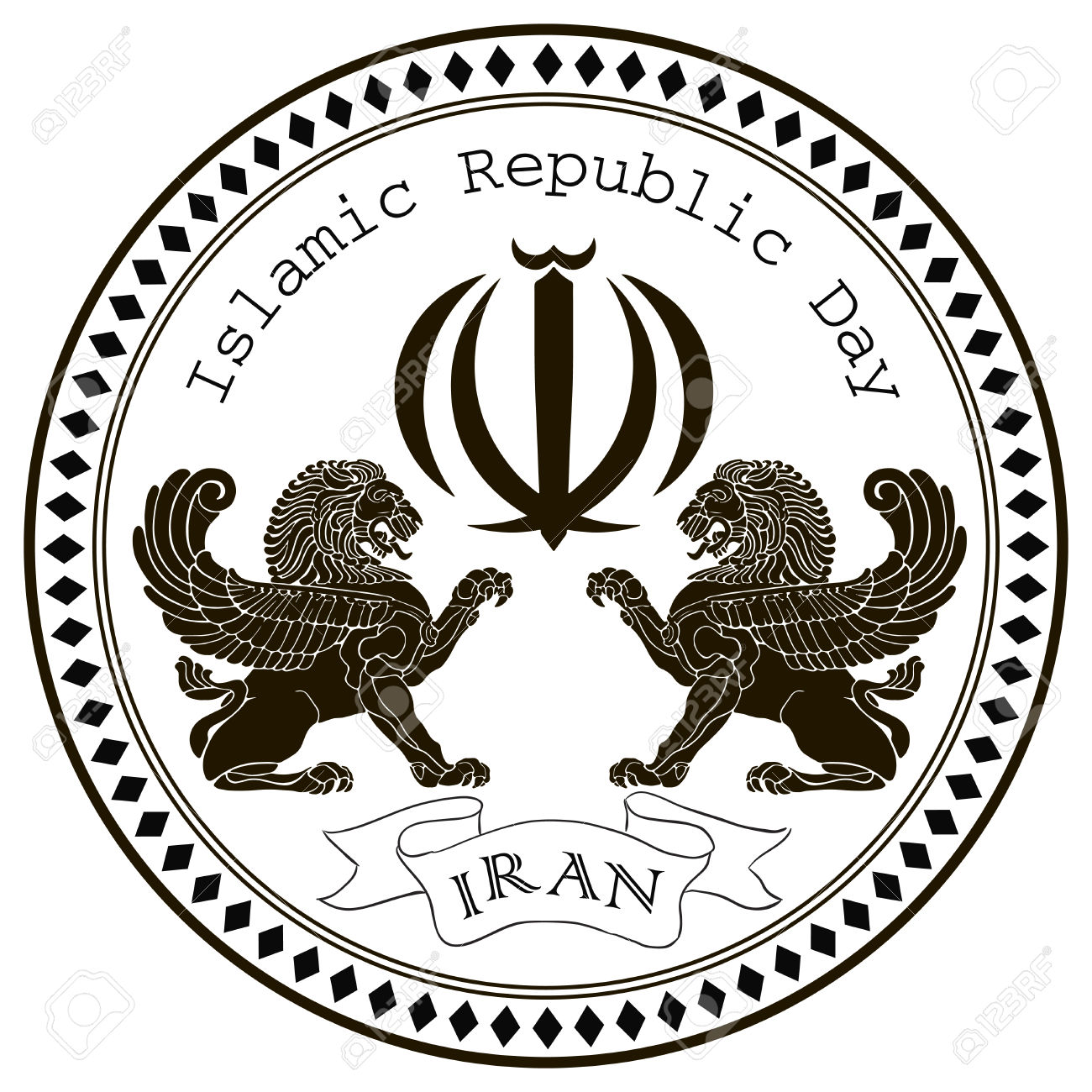 April 1, Stamp Islamic Republic Day Iran. Vector Illustration.