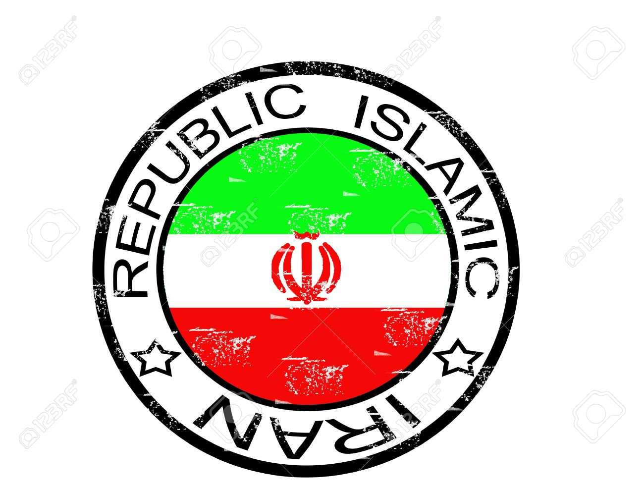 Grunge Stamp With The Flag And The Words Republic Islamic Iran.