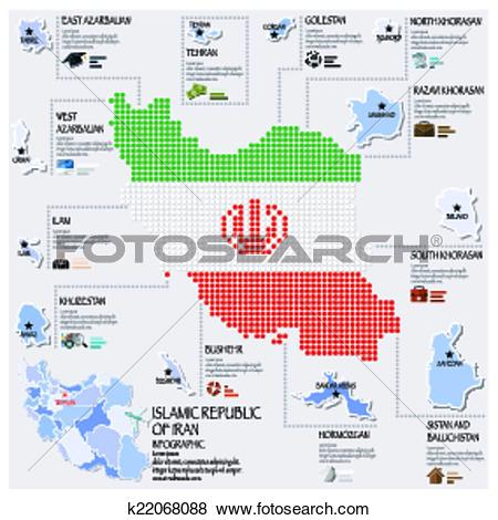 Clip Art of Dot And Flag Map Of Islamic Republic Of Iran.