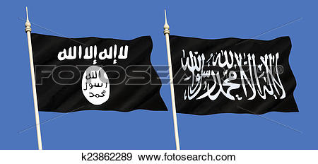 Stock Photograph of Flags of Islamic State.