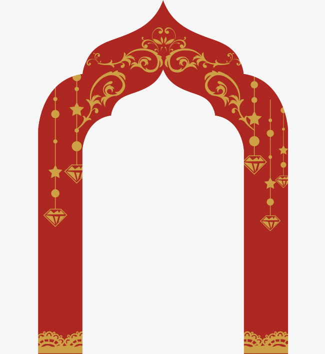 Islamic Style Door Vector Material, Red, Religion, Vector PNG and.