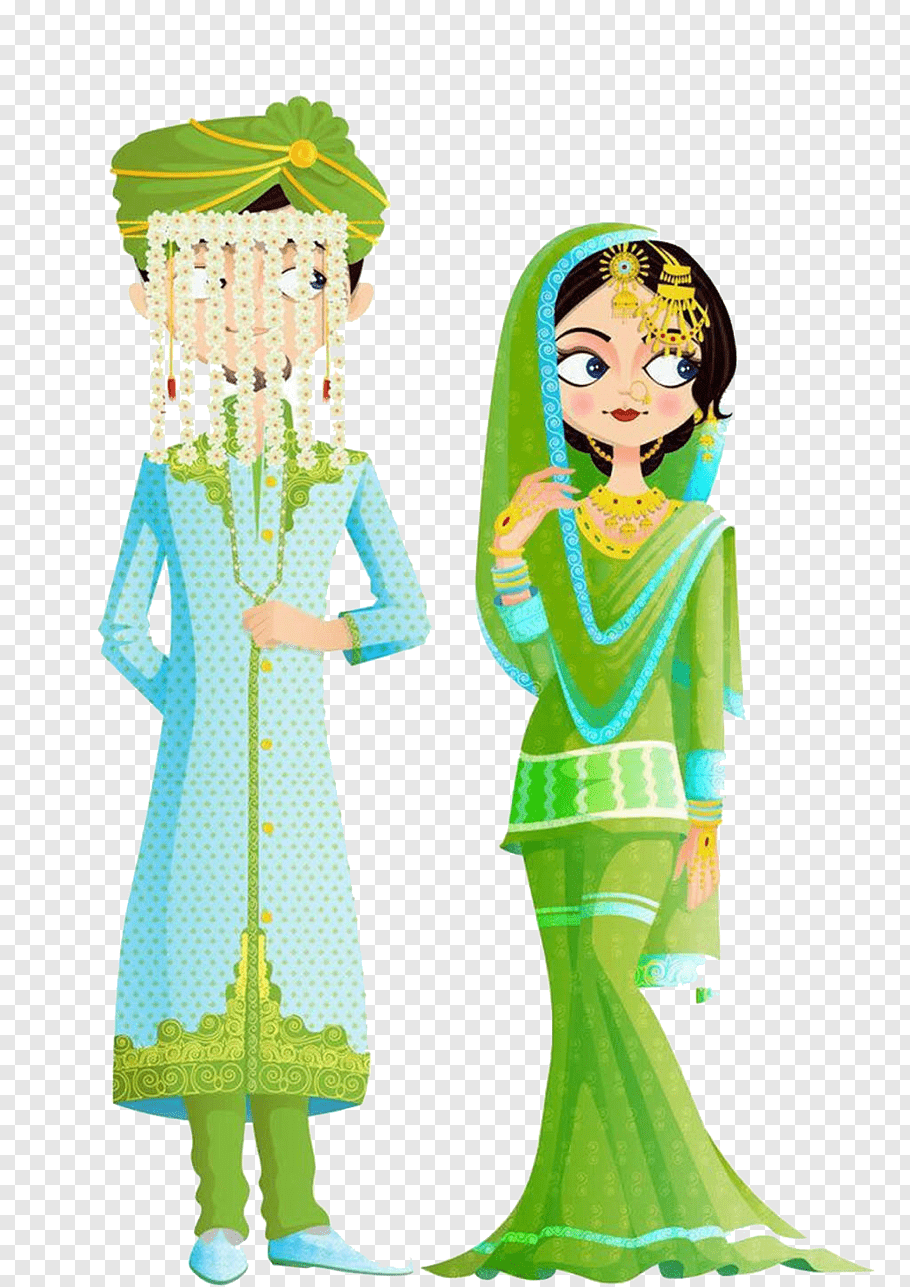 Bride and groom illustration, Islamic marital practices.