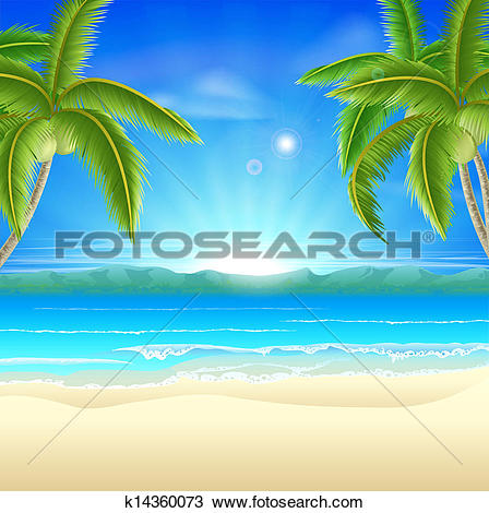 Clipart of Beautiful summer background with beach k3472410.