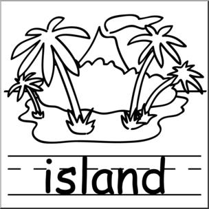 Clip Art: Basic Words: Island B&W Labeled I abcteach.com.