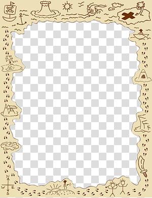 Rectangular survival sketch frame, Piracy Treasure map.