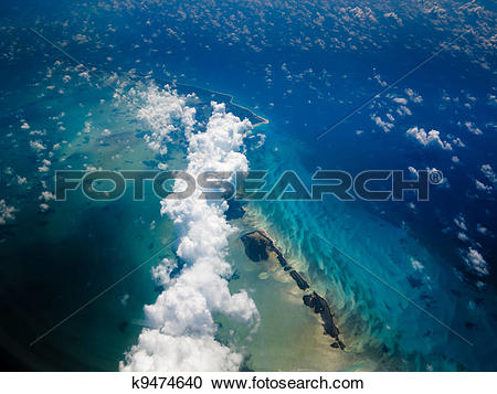 Stock Photography of Aerial view of Caribbean island chain.