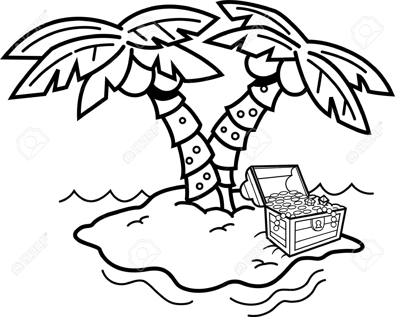 Island Clipart Black And White.