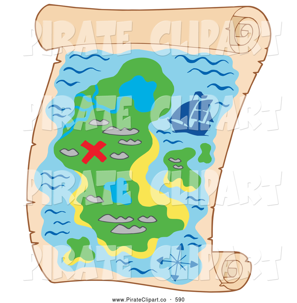 Vector Clip Art of a Treasure Map with a Red X Marked on an Island.