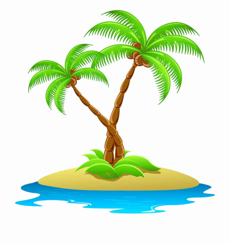 Island With Palm Trees Transparent Island Clipart.