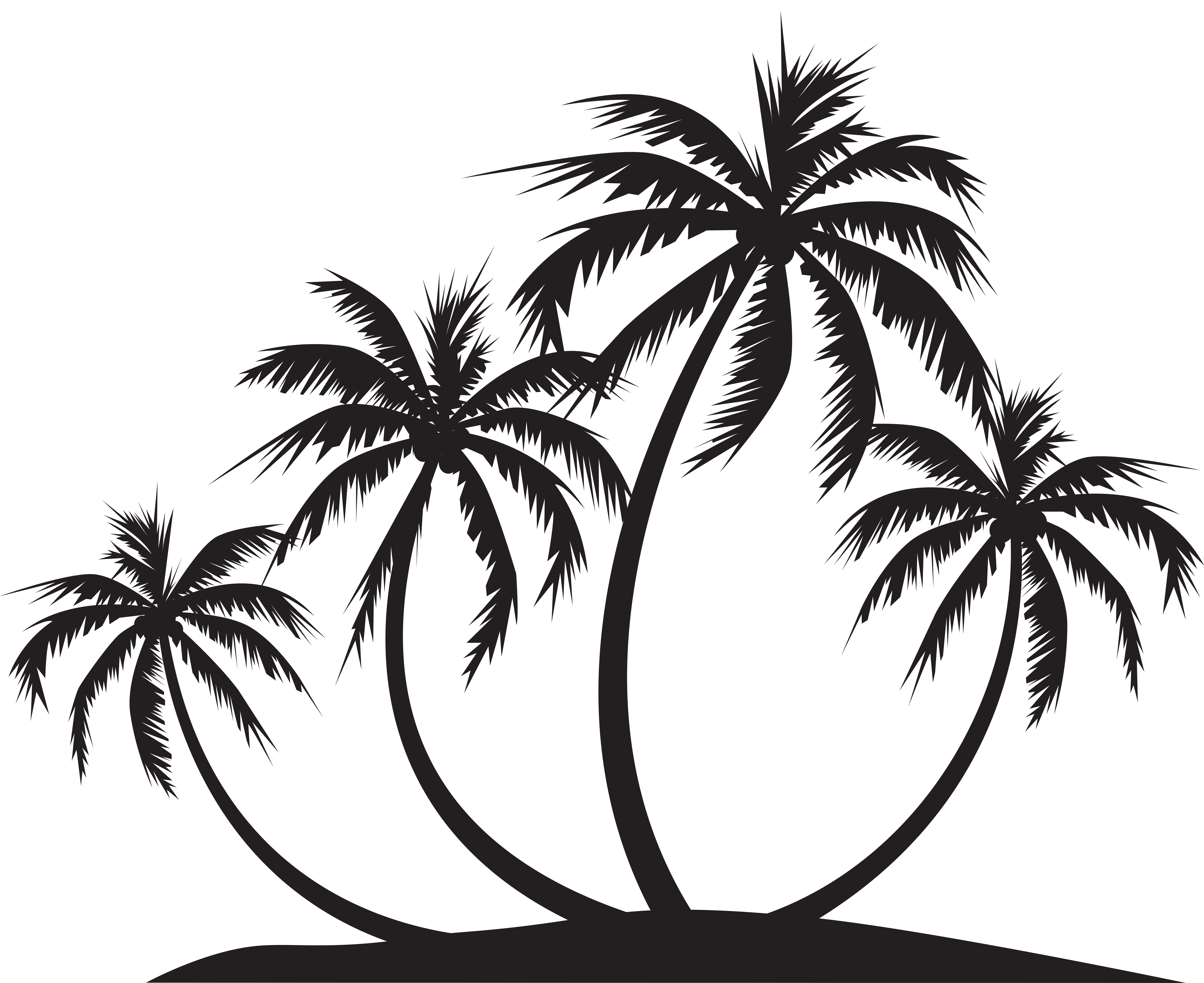 Palm Island Silhouette PNG Clip Art.