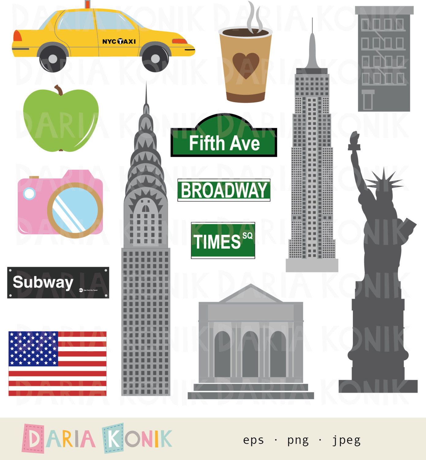 New York Clip Art Set.