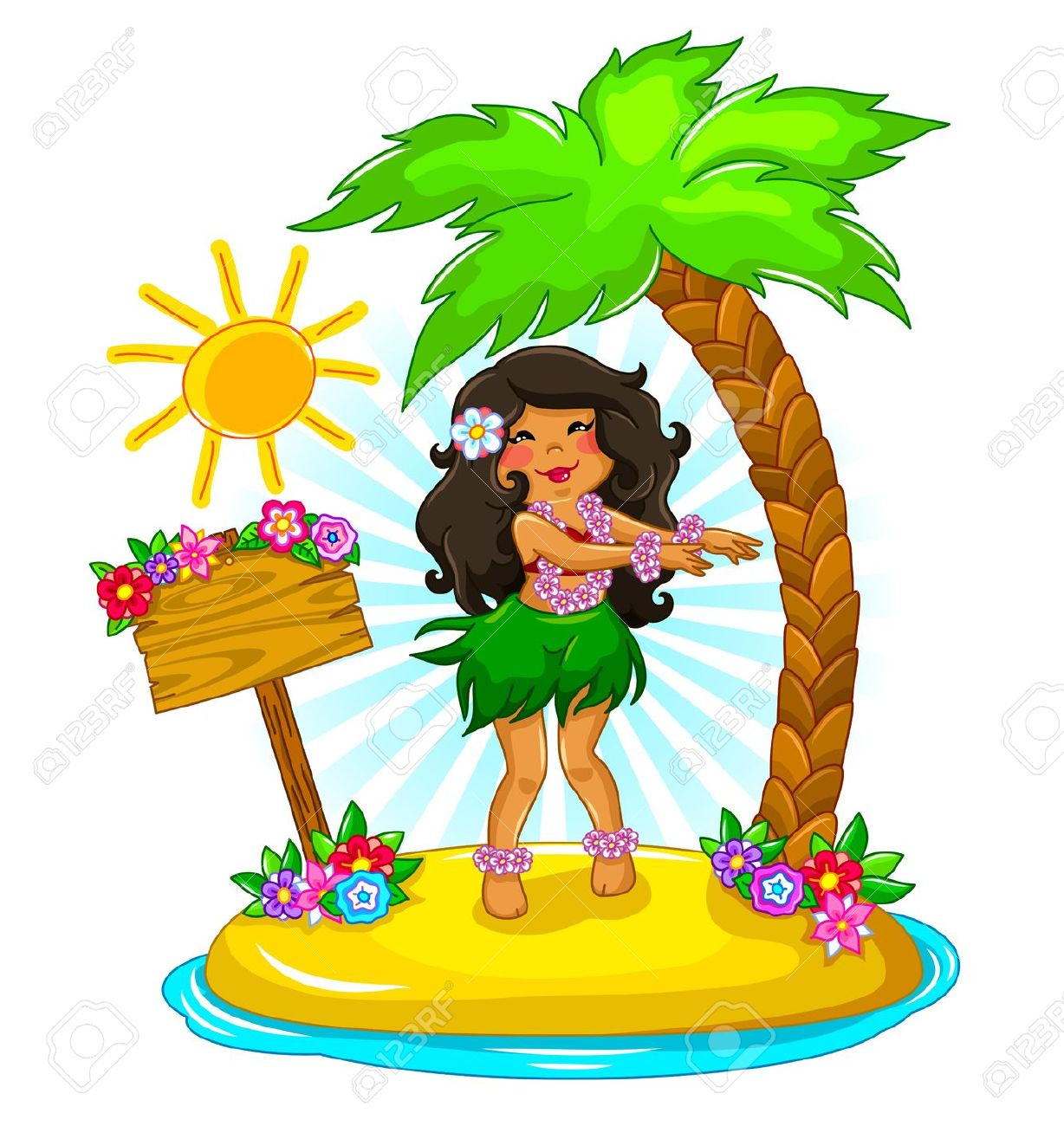 Girl Dancing Hula On A Tropical Island Royalty Free Cliparts.