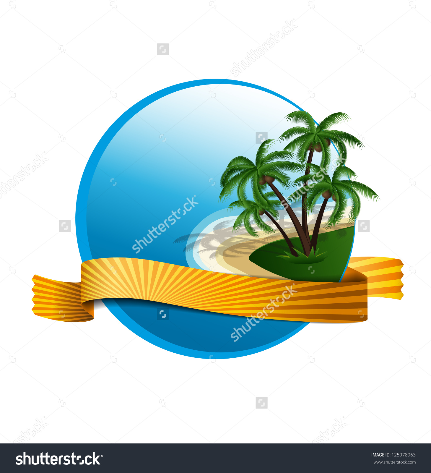 Summer Holiday Logo Island Palms Stock Vector 125978963.