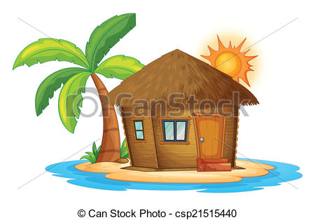 Vector of Hut in Island.