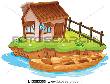 Clipart of A house on an island k12050055.